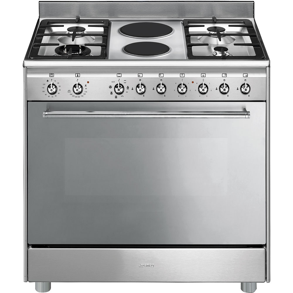smeg 90cm stainless steel concert cooker with 6 burner gas. Black Bedroom Furniture Sets. Home Design Ideas